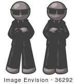 #36292 Clip Art Graphic Of Grey Guy Characters Guarding A Door
