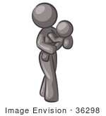 #36298 Clip Art Graphic Of A Grey Lady Character Mother Holding A Baby