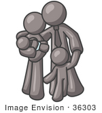 #36303 Clip Art Graphic Of A Grey Guy Character Family With Children