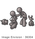 #36304 Clip Art Graphic of a Grey Guy Character Family With a Baby and Pets by Jester Arts