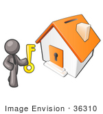 #36310 Clip Art Graphic Of A Grey Guy Character With A Key By A House