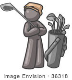 #36318 Clip Art Graphic Of A Grey Guy Character Golfing