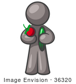 #36320 Clip Art Graphic of a Grey Guy Character Holding Veggies by Jester Arts