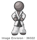 #36322 Clip Art Graphic of a Grey Guy Character in a Karate Suit by Jester Arts