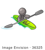 #36325 Clip Art Graphic of a Grey Guy Character Kayaking by Jester Arts
