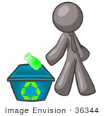 #36344 Clip Art Graphic of a Grey Guy Character Recycling by Jester Arts