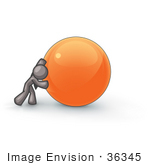 #36345 Clip Art Graphic of a Grey Guy Character Pushing a Giant Orange Ball by Jester Arts