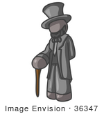 #36347 Clip Art Graphic Of A Grey Guy Character As Abraham Lincoln