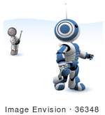 #36348 Clip Art Graphic Of A Grey Guy Character Controlling A Blue Robot