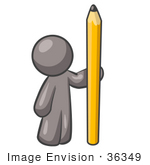 #36349 Clip Art Graphic of a Grey Guy Character Standing With a Pencil by Jester Arts