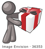 #36353 Clip Art Graphic Of A Grey Guy Character Holding A Gift