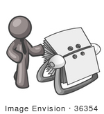#36354 Clip Art Graphic of a Grey Guy Character With a Rolodex by Jester Arts