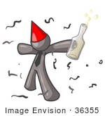 #36355 Clip Art Graphic Of A Grey Guy Character Partying