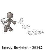 #36362 Clip Art Graphic Of A Grey Guy Character Dropping Papers