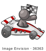 #36363 Clip Art Graphic Of A Grey Guy Character Driving A Race Car