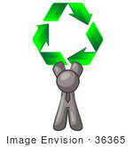 #36365 Clip Art Graphic Of A Grey Guy Character With Green Recycle Arrows