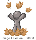 #36366 Clip Art Graphic of a Grey Guy Character Playing in Leaves by Jester Arts