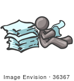 #36367 Clip Art Graphic of a Grey Guy Character Reading Through Paperwork by Jester Arts
