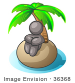 #36368 Clip Art Graphic Of A Grey Guy Character On An Island