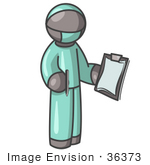 #36373 Clip Art Graphic Of A Grey Guy Character Surgeon In Scrubs