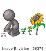 #36379 Clip Art Graphic Of A Grey Guy Character Planting Sunflower Seeds