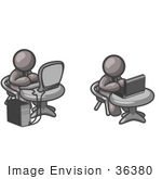#36380 Clip Art Graphic Of Grey Guy Characters Using Computers