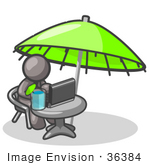 #36384 Clip Art Graphic Of A Grey Guy Character Working Under An Umbrella
