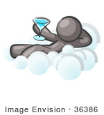 #36386 Clip Art Graphic Of A Grey Guy Character On A Cloud Drinking A Cocktail