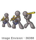 #36388 Clip Art Graphic Of Grey Guy Characters Playing Drums And Flute In A Band