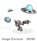 #36399 Clip Art Graphic Of A Grey Guy Character Fighting Ufos