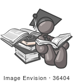 #36404 Clip Art Graphic Of A Grey Guy Character Graduate Reading