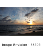 #36505 Stock Photo Of A Sunset Seascape With An Orange Burst In The Sky Poipu Kauai Hawaii