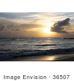 #36507 Stock Photo Of A Sailboat In The Distance On The Ocean At Sunset Seen From Poipu Kauai Hawaii