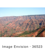 #36523 Stock Photo Of Red Walls And Cliffs Of The Waimea Canyon Kauai Hawaii