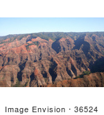#36524 Stock Photo Of Red Walls Of The Waimea Canyon Kauai Hawaii