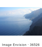 #36526 Stock Photo Of The Na Pali Coastline With Rippling Blue Waters Of The Pacific Ocean