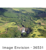 #36531 Stock Photo Of An Aerial View Of Wailua Falls And Its Surrounding Green Landscape In East Kauai Hawaii
