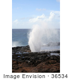 #36534 Stock Photo Of The Spouting Horn Blowhole Praying Water By The Pacific Ocean Poipu Kauai Hawaii