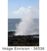 #36536 Stock Photo Of Spouting Horn Spurting Up Water Against A Backdrop Of The Pacific Ocean Poipu Kauai Hawaii