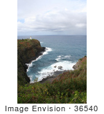 #36540 Stock Photo Of The Kilauea Lighthouse As Seen From The Overlook Kauai Hawaii