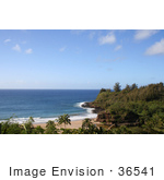 #36541 Stock Photo Of A View Of The Bridge In Allerton Garden Along The Coast Of Lawai Bay South Kauai Hawaii