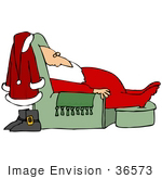 #36573 Clip Art Graphic Of A Tired Santa Taking A Nap In A Green Living Room Lazy Chair