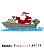 #36578 Clip Art Graphic of Santa Claus In A Motor Boat, Out For Delivering Toys by DJArt