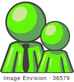 #36579 Clip Art Graphic Of A Lime Green Guy Character With A Child