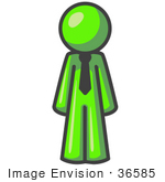 #36585 Clip Art Graphic Of A Lime Green Guy Character Wearing A Tie