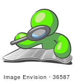 #36587 Clip Art Graphic of a Lime Green Guy Character Reading a Book With a Magnifying Glass by Jester Arts
