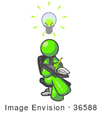 #36588 Clip Art Graphic Of A Lime Green Guy Character Jotting Ideas Down In A Notebook