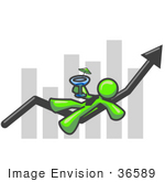 #36589 Clip Art Graphic Of A Lime Green Guy Character Drinking A Cocktail On A Bar Graph