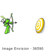 #36590 Clip Art Graphic Of A Lime Green Guy Character Shooting Arrows At A Target