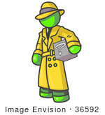 #36592 Clip Art Graphic Of A Lime Green Guy Character Investigator Carrying A Box